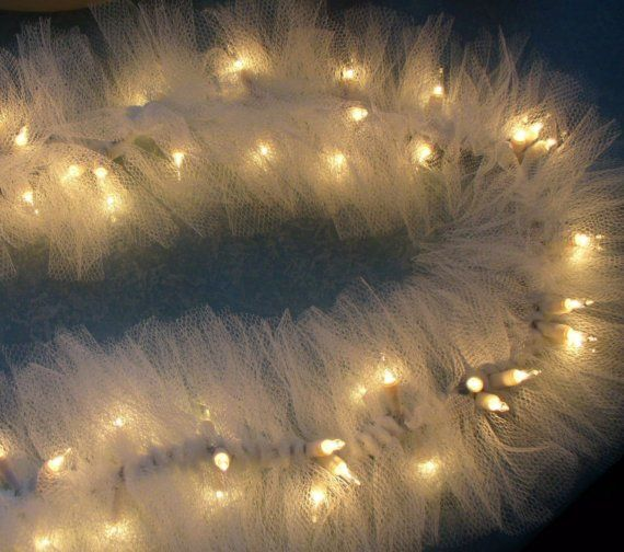 Ivory Tulle Netting on Mini String Lights SWAG by Nancianne514