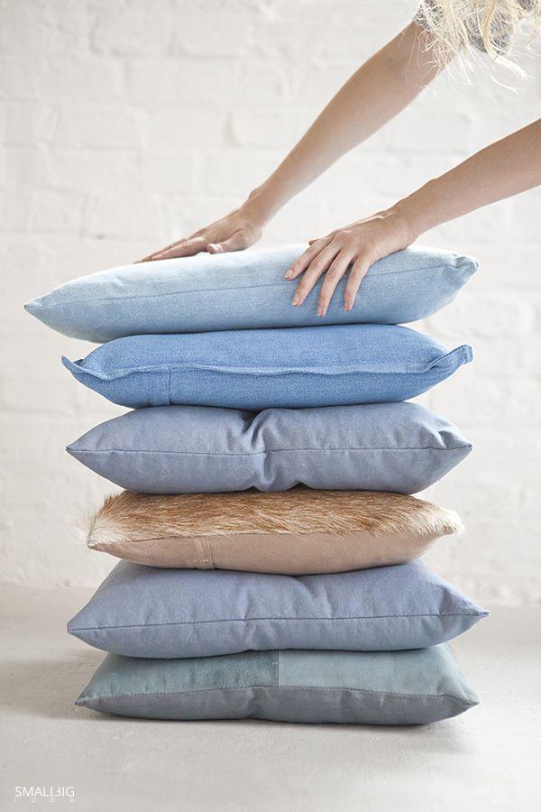 © smallbigidea.com denim pillows tower.