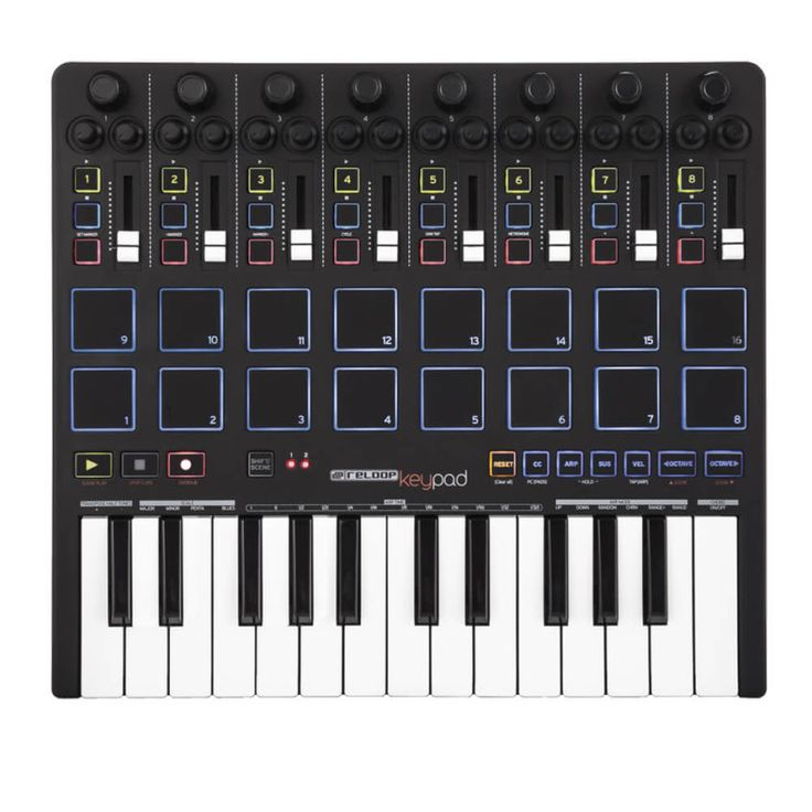 Versión Completa del KEYFADR de Reloop, dispone de 16 pads de inmejorable tacto. control con Ableton LIVE, 25 Mini teclas, plug and play, generador de acordes.
