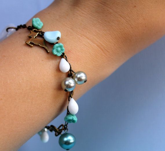 Bambi Flowers Vintage Style Charm Bracelet by comeandplaybetsymay