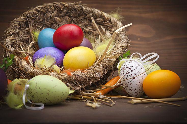 Día festivos Pascua Plumas Cesta de mimbre Huevo