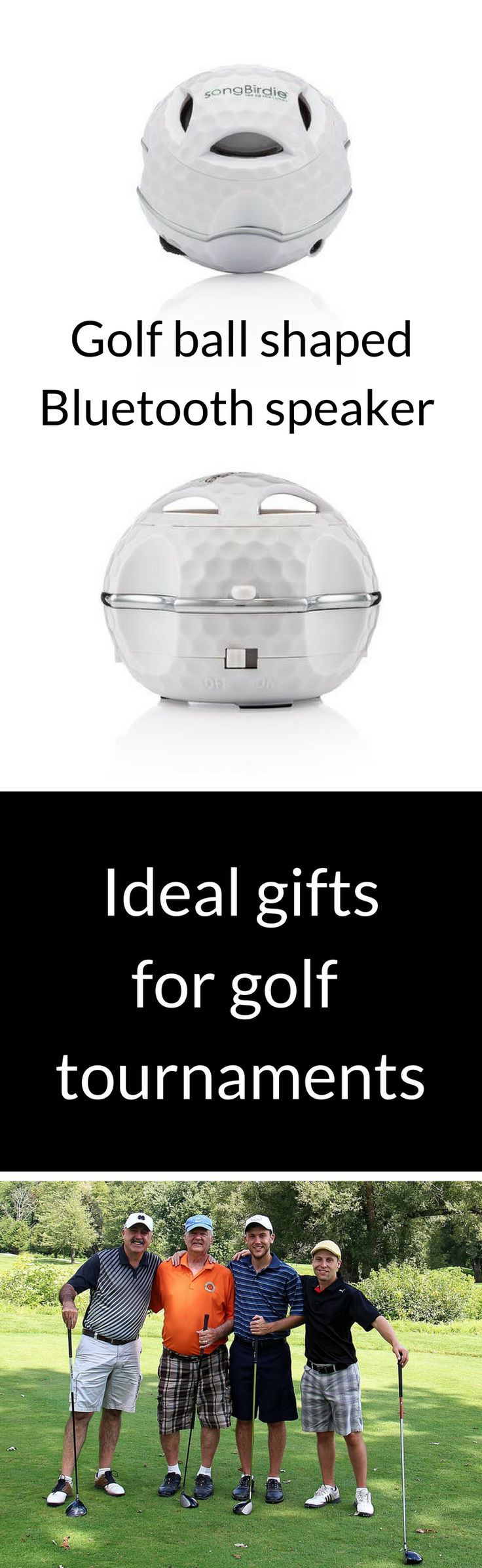 A Golf ball shaped Bluetooth speaker! Ideal for golf tournaments - customizable and small and convenient. A Unique gift for your next big charity golf event.