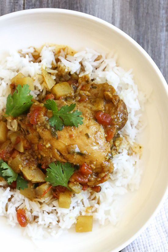 Chicken, garam masala, cumin and curry spices are simmered with potatoes and coconut milk to give this dish an aromatic flavor you'll really enjoy. Serve this over basmati rice for a complete meal (also great with naan or cauliflower rice to keep the carbs low). Instant Pot directions included.