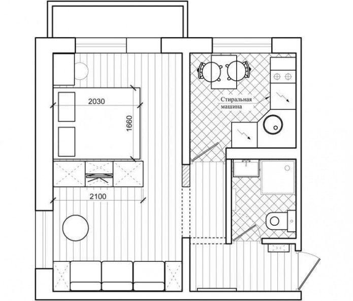 Перепланировка двухкомнатной угловой квартиры