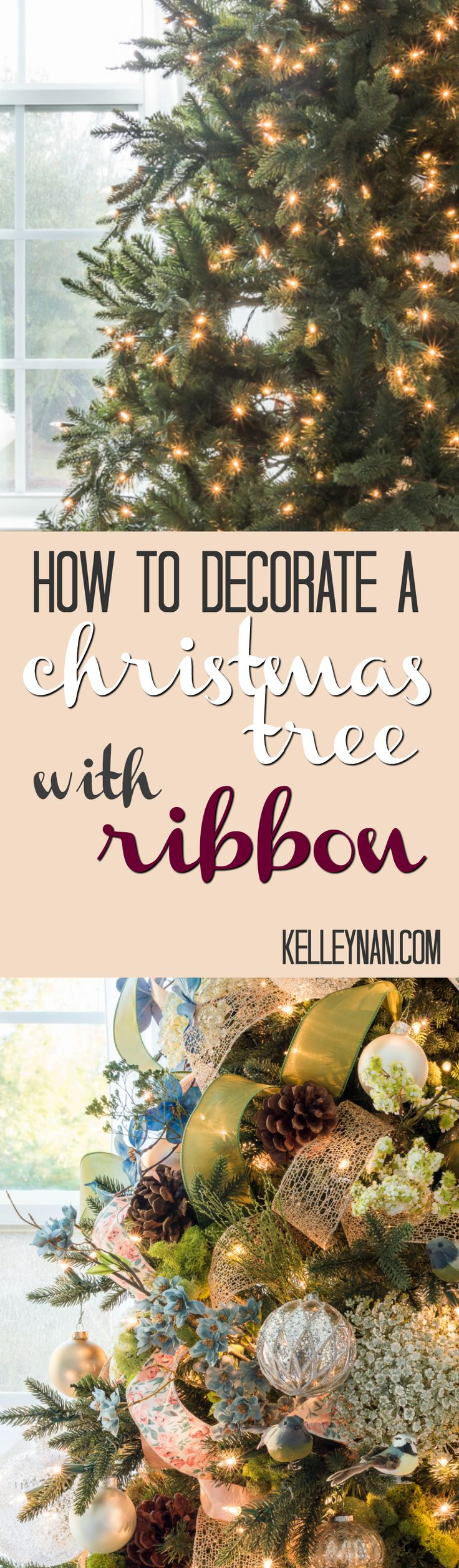How to Decorate a Christmas Tree with Ribbon - Easy Tutorial on how to trim a tree with picks, ribbon, and ornaments for a beautiful, whimsical result.
