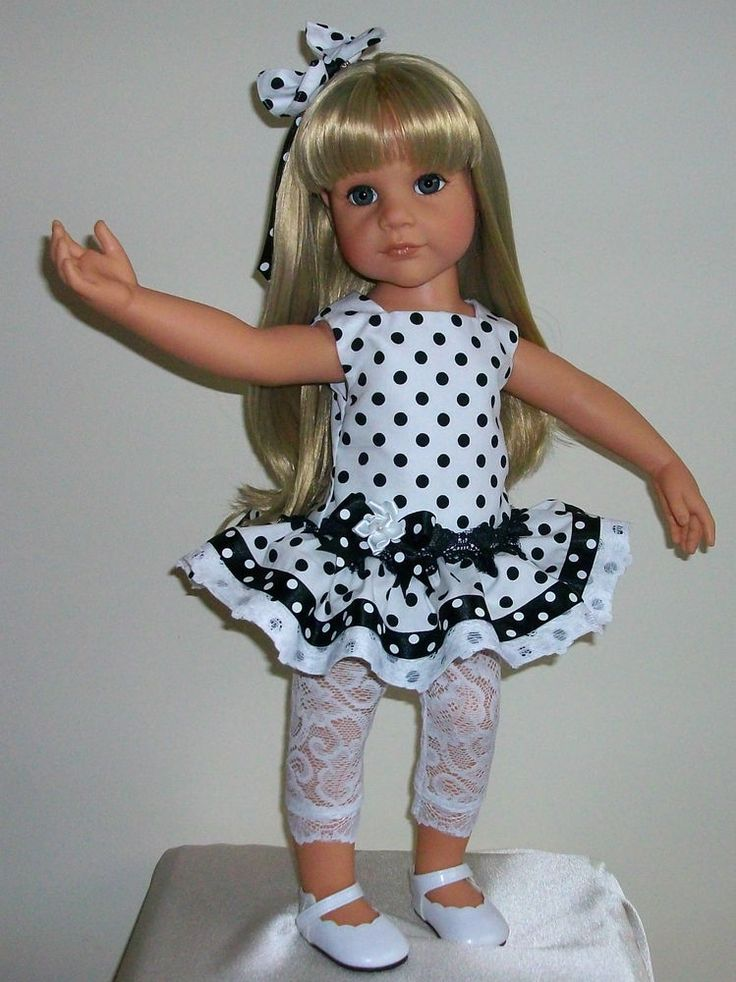 "Vintagebaby dress leggings & hair bow for 18-20"" dolls Designafriend/Gotz hannah"