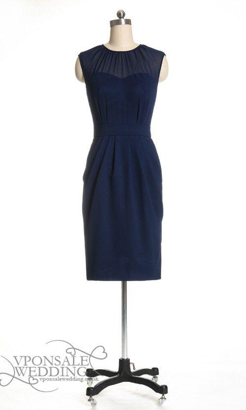 Dark Blue Short Bridesmaid Gown Illusion Neckline DVW0107 | VPonsale Wedding Custom Dresses