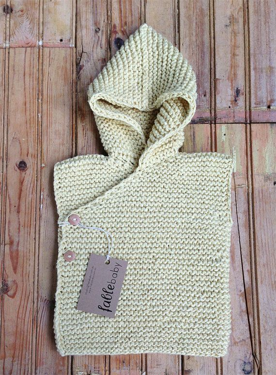 Hand Knitted Organic Cotton Chunky Hoodie Vest in by fablebaby