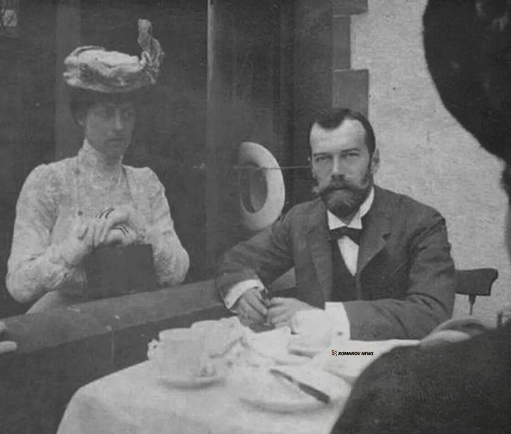 "Tsar Nicholas ll of Russia with Princess Victoria of Wales. ""AL"""