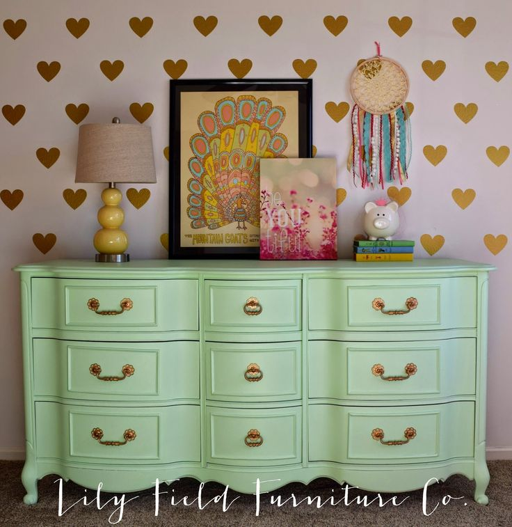Lily Field Furniture Mint Green Dresser Painted