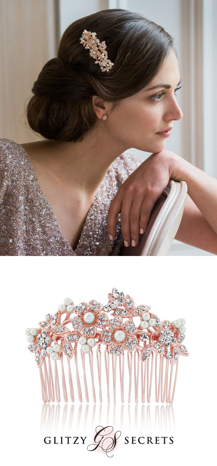 Rose gold wedding hair accessories - Rose Gold Blooms Hair Comb