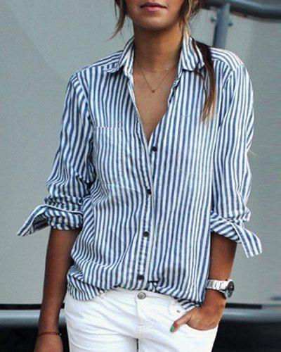Stripes Print Casual Shirt Collar Long Sleeve Blouse For Women