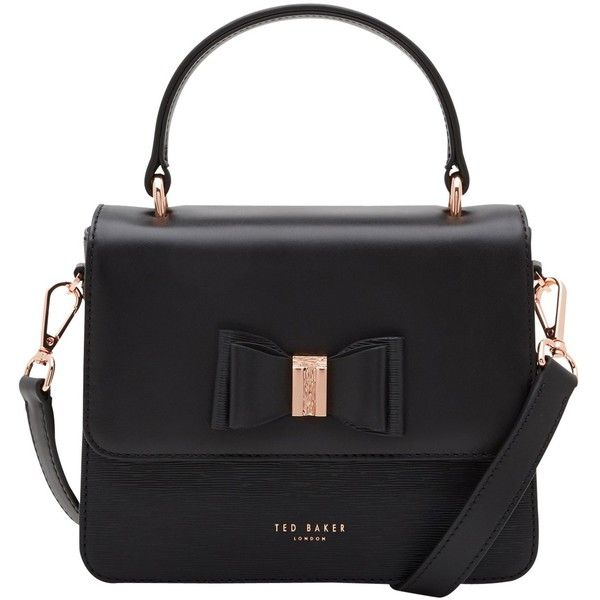 Ted Baker Calila Leather Across Body Bow Bag, Black (€170) ❤ liked on Polyvore featuring bags, handbags, shoulder bags, handbags crossbody, cross-body handbag, shoulder strap bags, shoulder handbags and leather hand bags