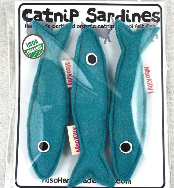 Chat jouet cataire Sardines Merino laine Blend feutre