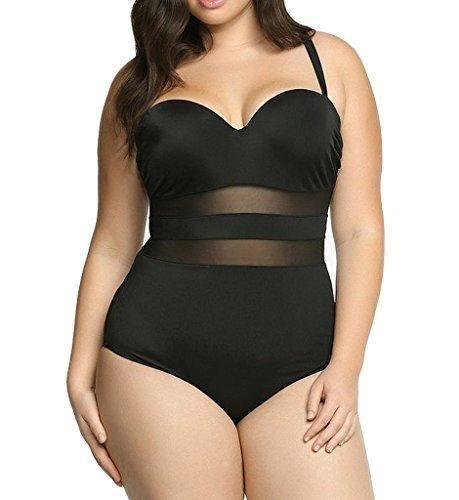 Eternatastic Women's Summer One-piece Monokini Swimsuit Swimwear Plus Size Black XXXL