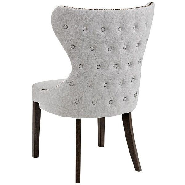 Ariana Light Gray Fabric Dining Chair (3.460.465 IDR) ❤ liked on Polyvore featuring home, furniture, chairs, dining chairs, upholstered kitchen chairs, upholstered dining chairs, nailhead chair, transitional dining chairs and fabric dining chairs