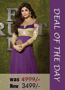 Deal of the day - Purple Faux Georgette #Anarkali #suit! Was Rs. 4,999, Now only Rs. 3,499! Grab your piece before the deal closes on 28th Aug 2014.  Order Now@ http://zohraa.com/purple-faux-georgette-anarkali-suit-karmashilpashetty6003.html