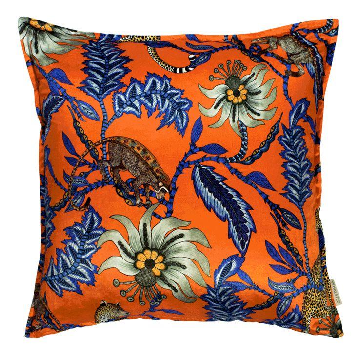 Ardmore Design 60x60cm cushion in Monkey Bean Flame Velvet. Double-sided print on velvet.
