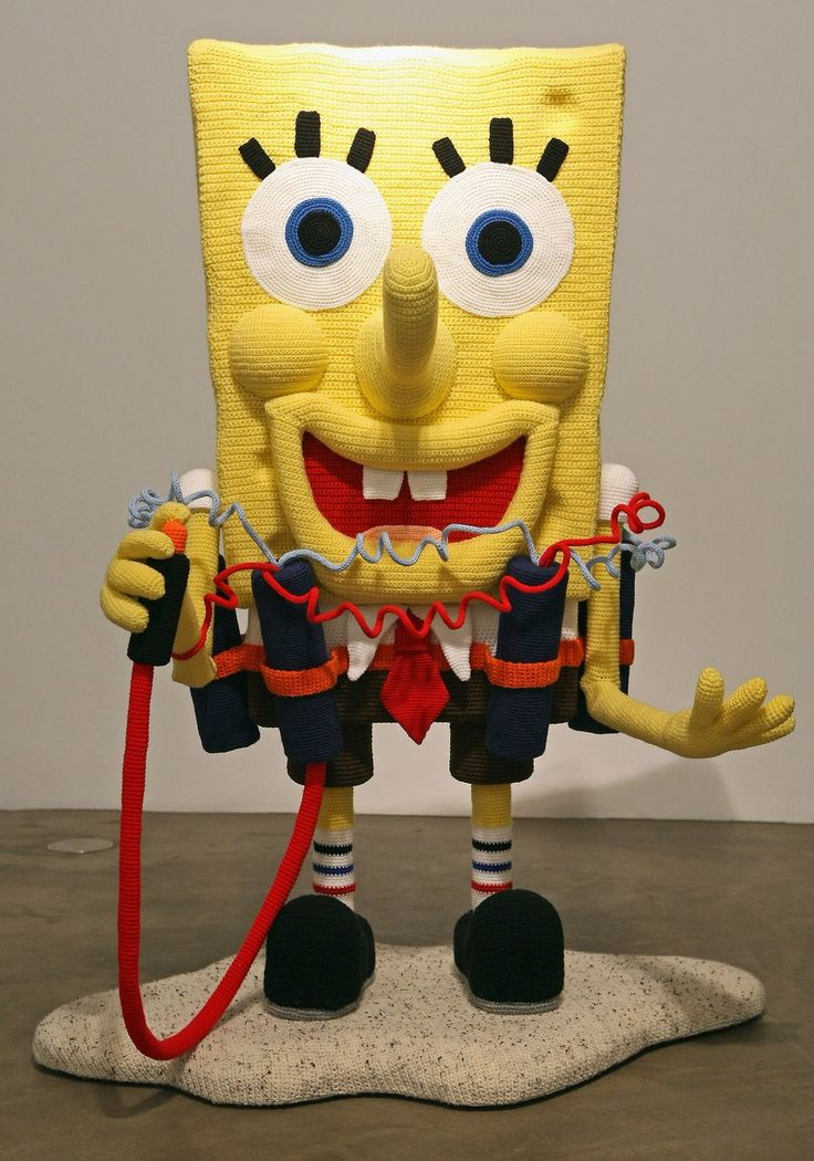 """The knitted sculpture """"Spongebob"""" by Patricia Waller2"""