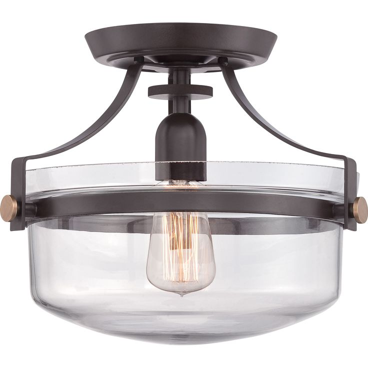 Update your home decor with this beautiful glass semi-flush mount. This mount features a historic look with a clear bowl and accented with western bronze