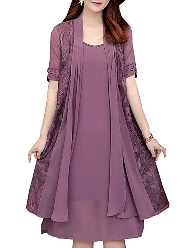 7f9f3097f5d Women s Plus Size Loose Two Piece Dress - Solid Colored Lace   Spring   Fall