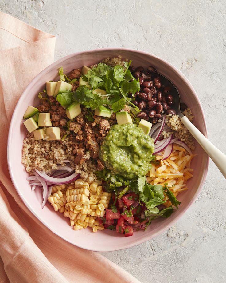 Quinoa Taco Bowls with Tomatillo Avocado Salsa