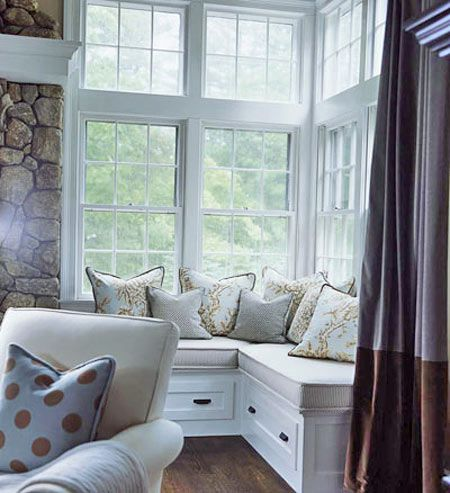 Cozy Window Seat - how can I put this in my family room? Love it.