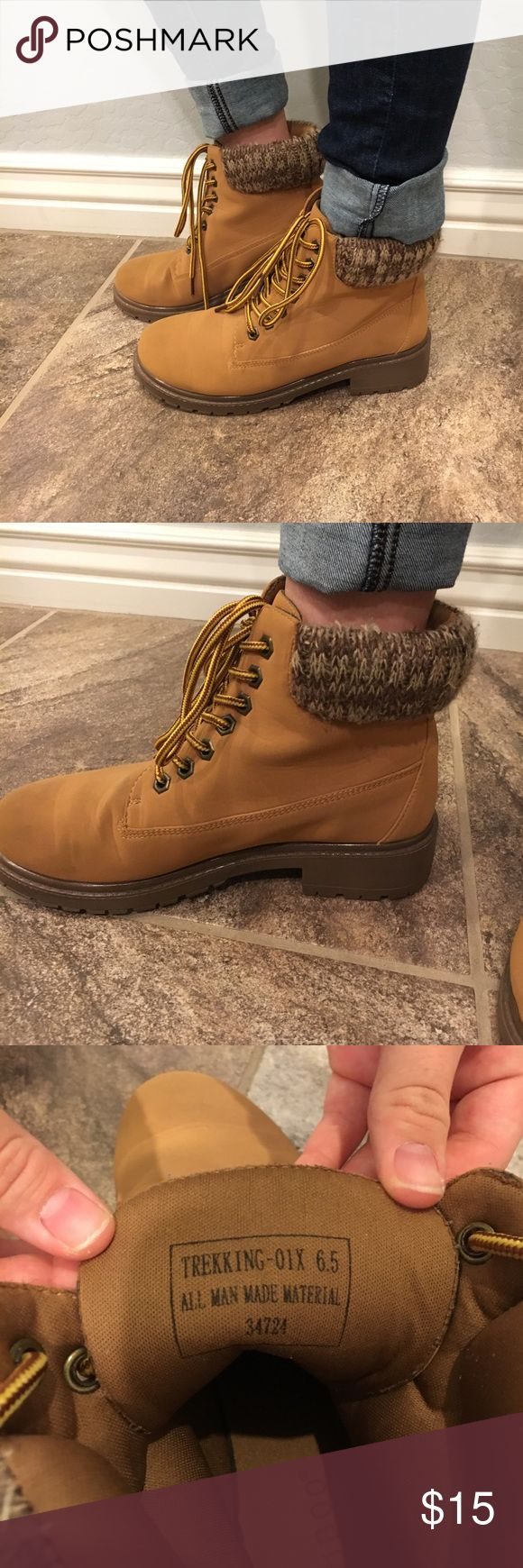 Construction Boots Light brown boots. Worn twice, great condition. Very cute with a pair of jeans. Very comfortable. I love the laces Tilly's Shoes Ankle Boots & Booties