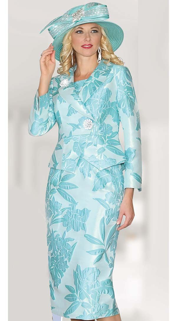 Lily and Taylor 3856 - Womens Two Piece Skirt Suit With Floral Pattern