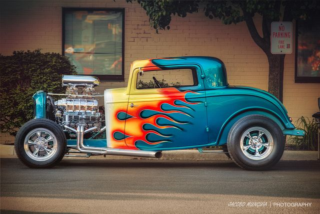 Blown and Flamed 1931 Ford 3 Window Hot Rod, This has to be one of the most striking flame job we have seen in years. The painter even extended the flames onto the roof panel.
