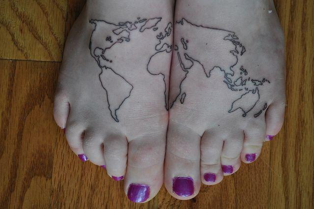 map tattoo on feet