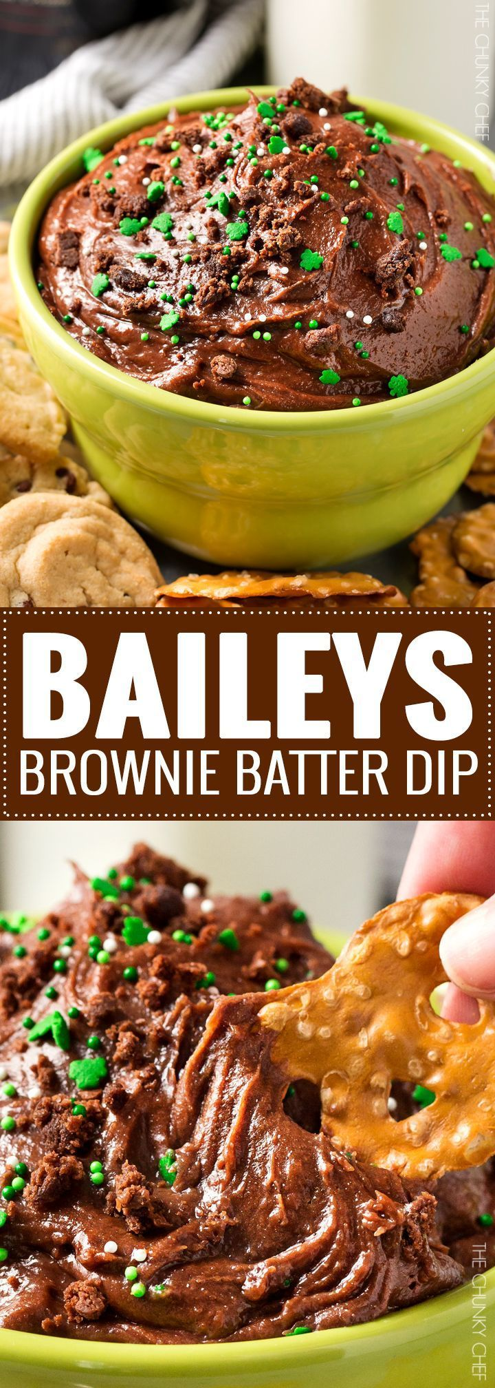 Baileys Brownie Batter Dip | All the amazing brownie batter flavor, in a safe to eat, eggless dip. A splash of Baileys gives this dessert dip a little holiday flair... perfect for a St. Patrick's Day party! | http://thechunkychef.com