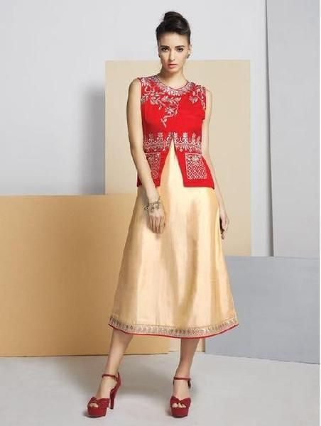 Eid Special Offer: Red & Cream Color #kurtis&kurtas #designer kurtis available at ladyindia.com