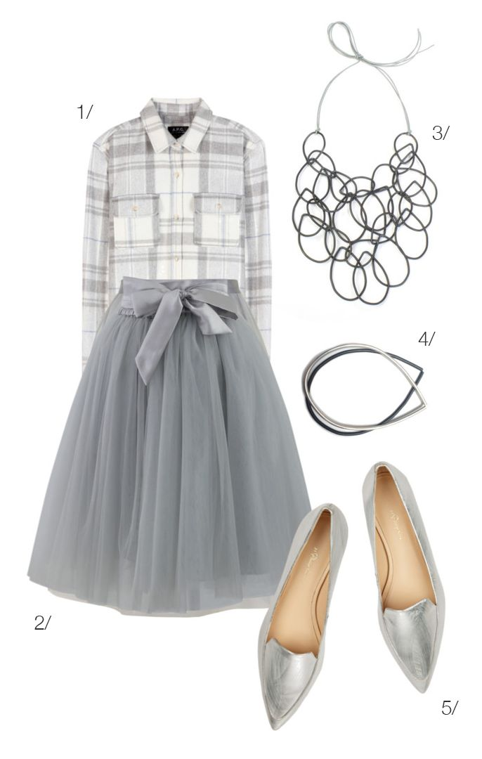 mix a plaid flannel shirt with a floaty tulle skirt in a monochromatic color palette for a chic winter holiday look // click for outfit details