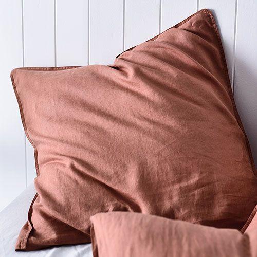 Vintage Washed Linen Quilt Cover Terracotta