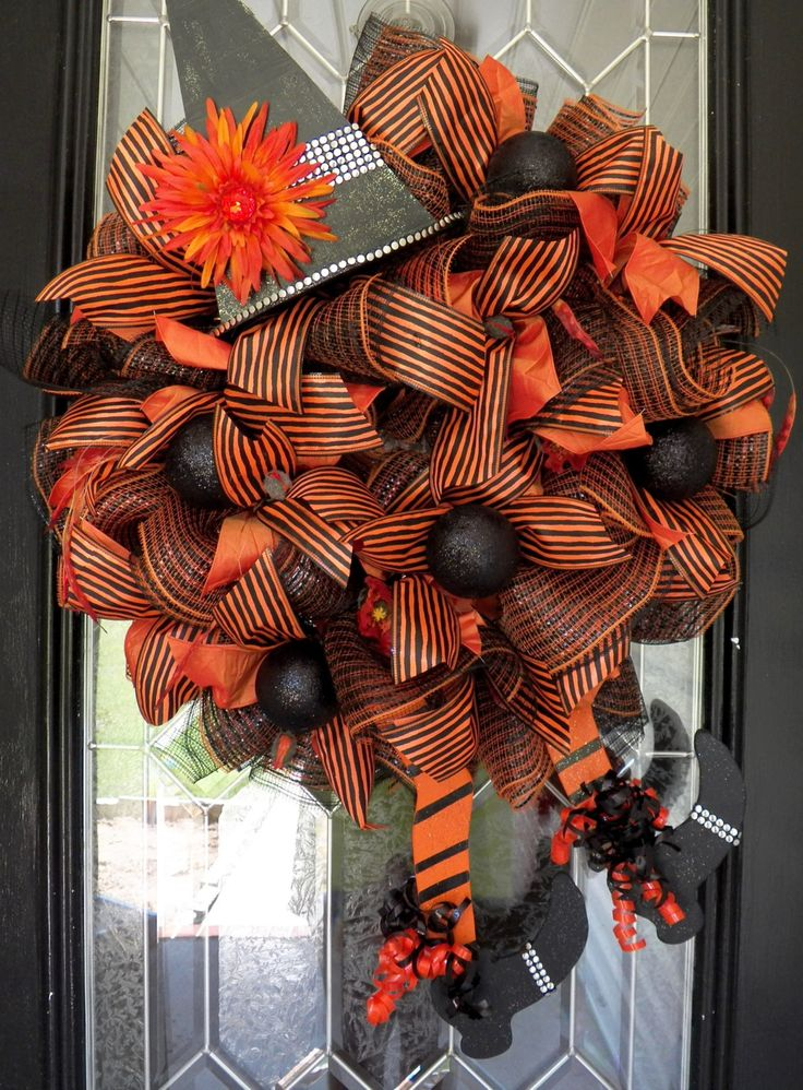 wicked witch halloween wreath halloween wreath deco mesh wreath halloween decoration by occasionsboutique - Etsy Halloween Decorations