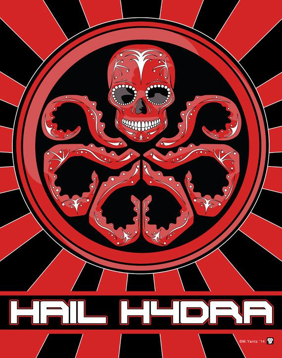 """Red Skull """"Hail Hydra"""" Sugar Skull Print inspired by the character from the Marvel comics and movies"""