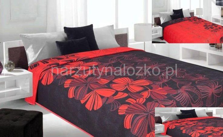 Modna czarna narzuta dwustronna na łóżko z czerwonymi kwiatami