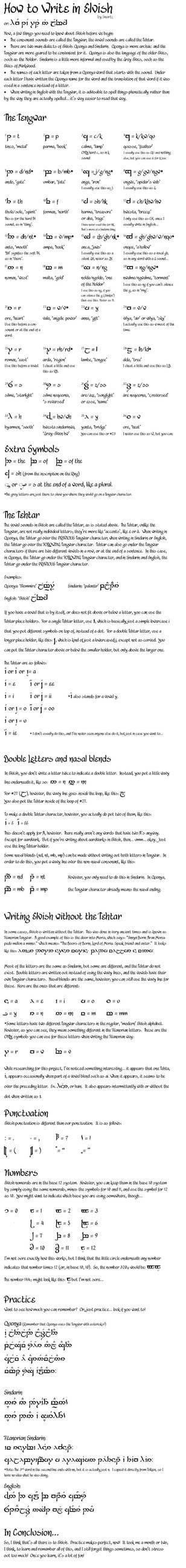how to write in elvish
