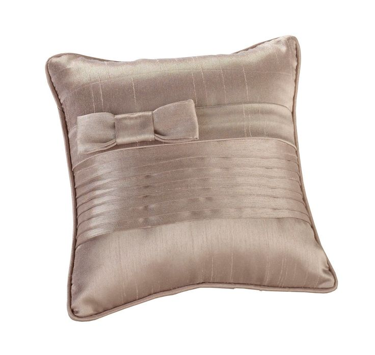 Taupe Pleated Silk Pillow