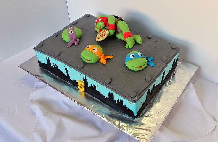 Ninja Turtles sheet birthday cake | Sheetcakes with ...