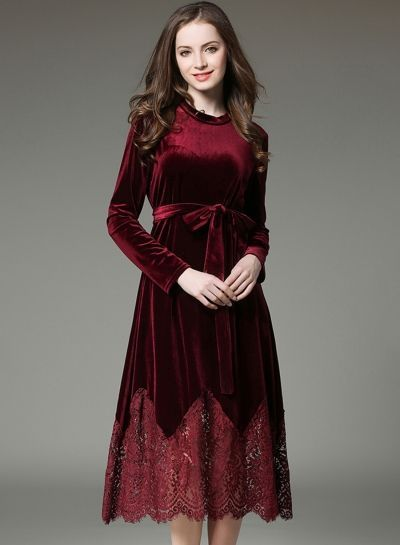 bfdf7c1793b0 Fashion Long Sleeve Lace Velvet Dress with Belt party dresses for  girls,cheap party dresses,designer party dresses midi party dresses,party  dresses online ...