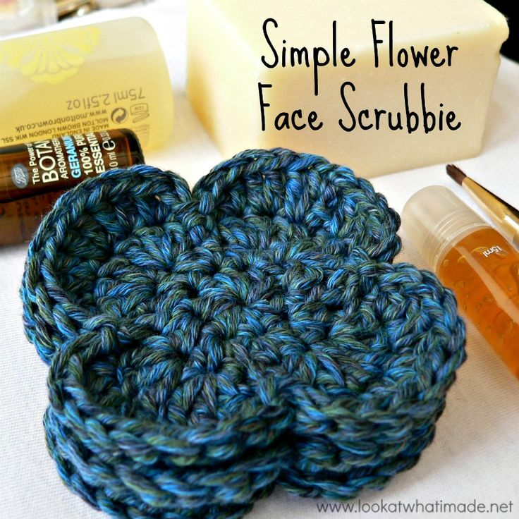 Simple Flower Crochet Face Scrubbie - Look At What I Made