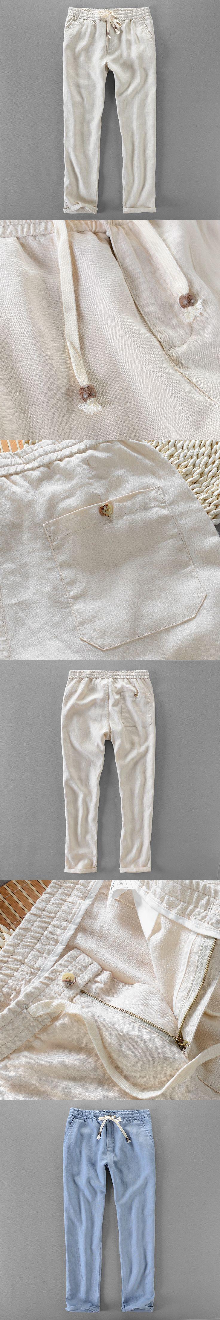 Suehaiwe's brand linen pants men spring clothing trousers men long fashion mens pants elastic waist trousers mens pantalon 40siz