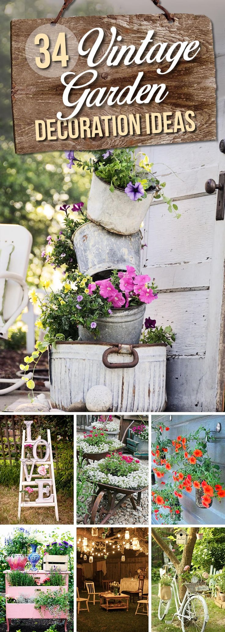 Vintage garden design is a growing trend for outdoor living spaces. Incorporating fun antique pieces from inside the house into your yard gives it a unique look no one else on the block will have. This list of 34 pretty vintage garden decor ideas has everything you need to take your outdoor...