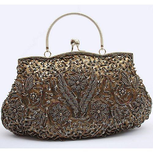Metallic Bronze Beaded Sequin Bridesmaid Evening Clutch Purse Bag SKU-1110022