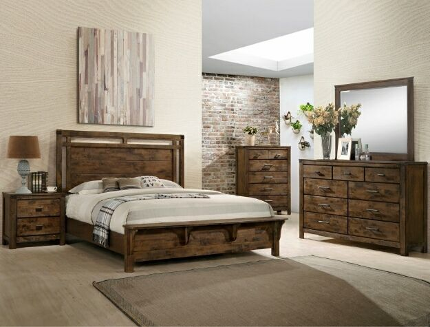 B4810 4 Pc Curtis Rustic Weathered Finish Wood Queen Bedroom Set Bedroom Sets Queen Wood Bedroom Sets Bedroom Sets
