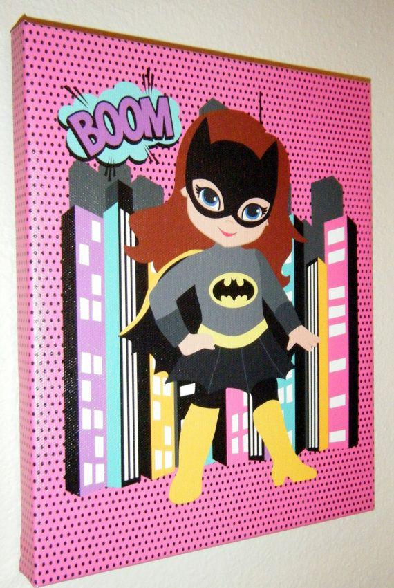 """Children S Party Box Wall Art For Girl S Bedroom: Superhero Wall Art Kids- Batgirl- Kids Room Decor- 8""""x10"""