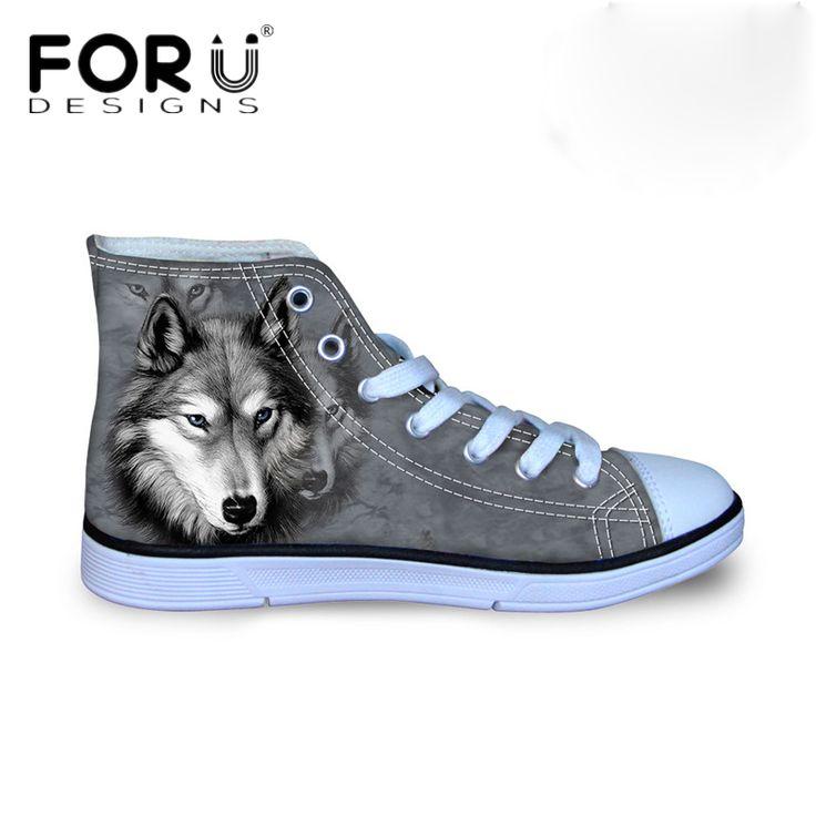 FORUDESIGNS <b>Vulcanized</b> 3D Animals Wolf <b>High Top</b> Pet Dog ...