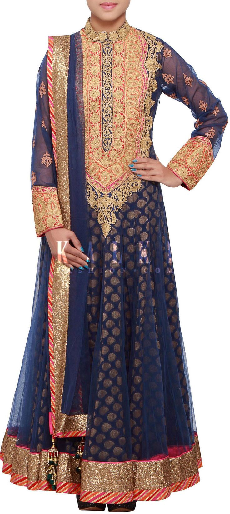 Buy Online from the link below. We ship worldwide (Free Shipping over US$100) http://www.kalkifashion.com/navy-blue-anarkali-suit-adorn-in-zari-embellished-neckline-only-on-kalki.html